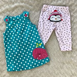 Carter's Polka Dot Whale Dress & Penguin Pants